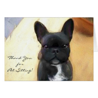 Thank You petsitter Black French Bulldog card