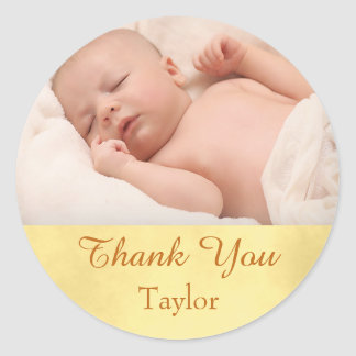 Thank You Photo Baby Classic Round Sticker