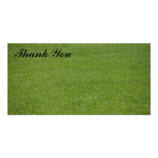 Thank You photo card - green grass