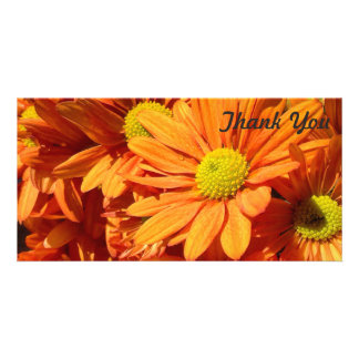 Thank You photo card - orange flowers