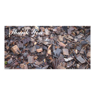 Thank You photo card - wood chip