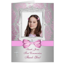 Thank You photo girl Communion Card
