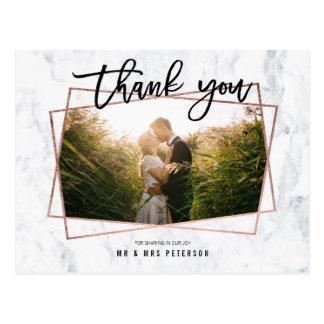 thank you photo script rose gold marble wedding postcard