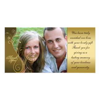 Thank You Photo Wedding Card Classy Brown & Gold
