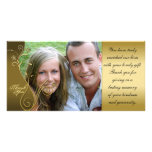 Thank You Photo Wedding Card Classy Brown & Gold Customized Photo Card