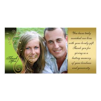 Thank You Photo Wedding Card Classy Green & Gold