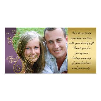Thank You Photo Wedding Card Classy Purple & Gold