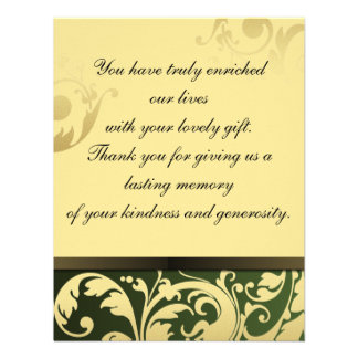 Thank You Photo Wedding Card Green & Gold Floral Invites