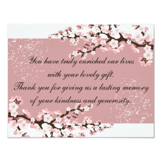 Thank You Photo Wedding Card Rose Cherry Blossoms