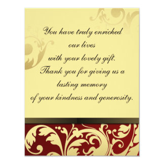 """Thank You Photo Wedding Card Rouge & Gold Floral 4.25"""" X 5.5"""" Invitation Card"""