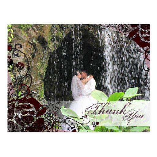 Thank You Photo Wedding Postcard Pink Red Rose