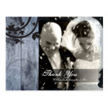 Thank You Photo Wedding Postcard Rustic Barn Board
