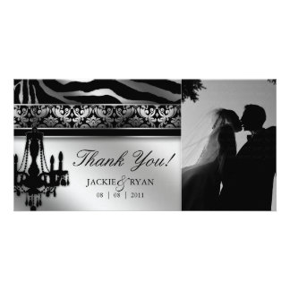 Thank You Photocard Chandelier Silver Black Card
