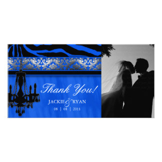 Thank You Photocard Chandelier Silver Blue Royal Card