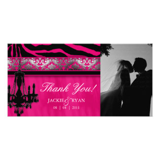 Thank You Photocard Chandelier Silver Pink Card