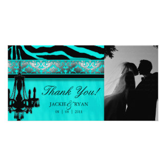 Thank You Photocard Chandelier Silver Turquoise Card
