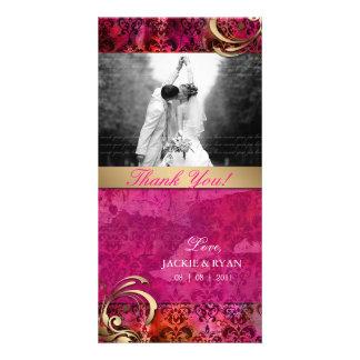 Thank You Photocard Indian Damask Pink Gold Photo Card