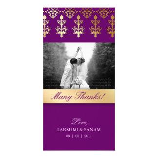 Thank You Photocard Indian Damask Purple Card