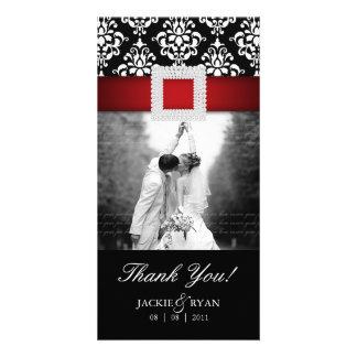 Thank You Photocard Jewel Damask Red Black Photo Card