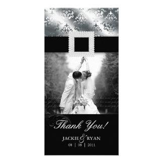 Thank You Photocard Jewel Damask Silver Black Photo Card