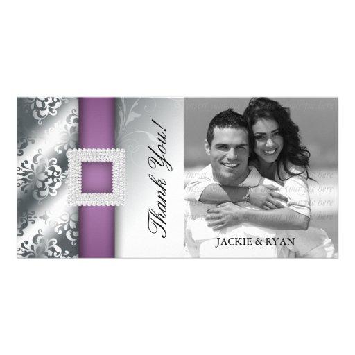 Thank You Photocard Jewel Damask Silver Purple Photo Card