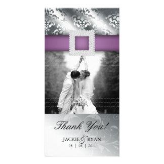 Thank You Photocard Jewel Damask Silver Purple V Photo Card