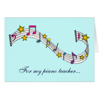 Thank You Piano Teacher with Notes and Stars Greeting Card
