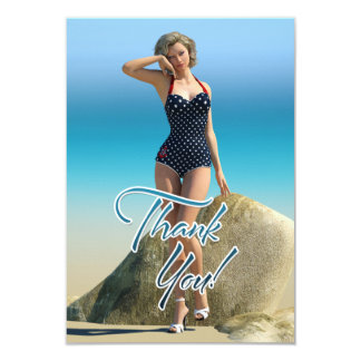Thank You Pin Up Norma 3.5x5 Paper Invitation Card