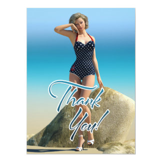 Thank You Pin Up Norma 6.5x8.75 Paper Invitation Card