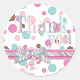 Thank You Pink & Aqua Polka Dots Classic Round Sticker
