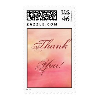 Thank you pink background postage