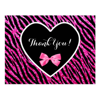 Thank You Pink Black Glam Zebra Faux Glitz Heart Postcard