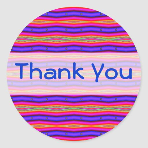 Thank you pink blue fractal classic round sticker