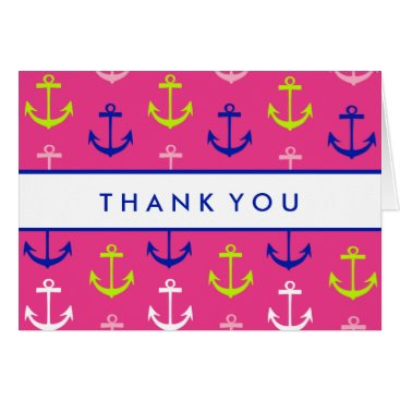 Beach Themed Thank You | Pink & Blue Nautical Card