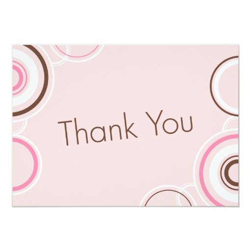 Thank You - Pink & Brown Cirlces 5x7 Paper Invitation Card