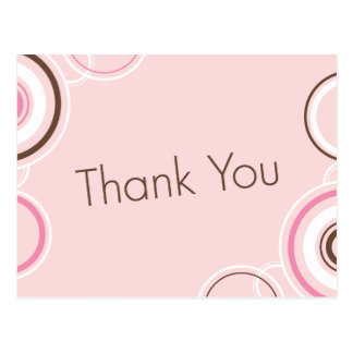 Thank You - Pink & Brown Cirlces Postcard