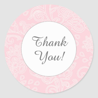 Thank you pink damask round favor stickers