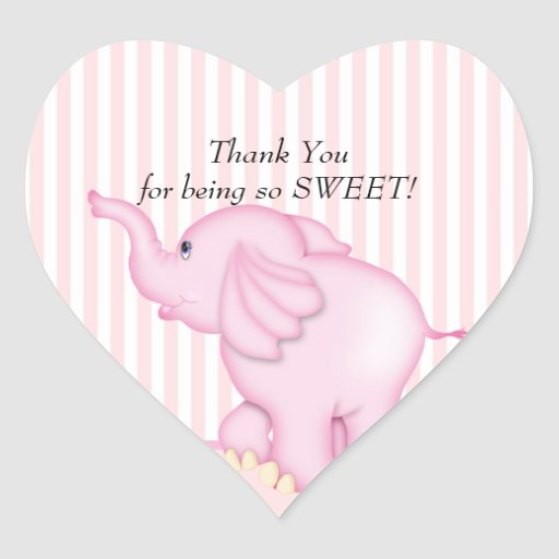 Thank You Pink Elephant Baby Shower Heart sticker