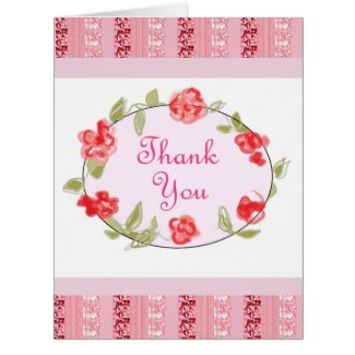 Thank You Pink Floral Decorative Art Card