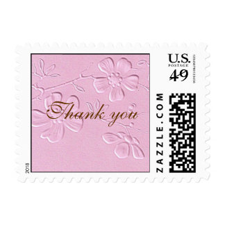 Thank You -Pink floral Embossed Postage Stamps