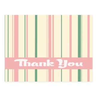 Thank You Pink, Green And White Stripe Pattern Postcard