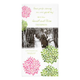 Thank You Pink & Green Blooms Wedding Photo Photo Card