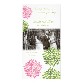 Thank You Pink & Green Blooms Wedding Photo Photo Card Template