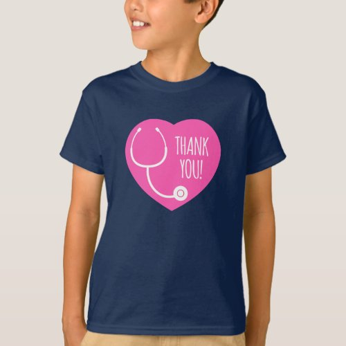 Thank You  Pink Heart Stethoscope T_Shirt