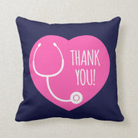 Thank You | Pink Heart Stethoscope Throw Pillow