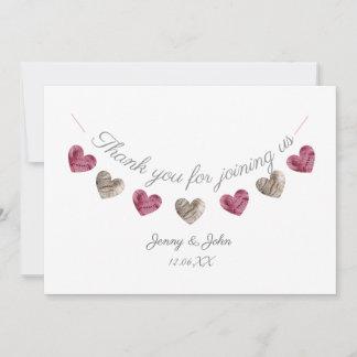 Thank you pink heart wedding/ anniversary card