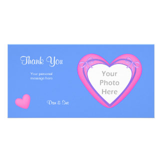 Thank You - Pink Hearts on Blue Custom Photo Card