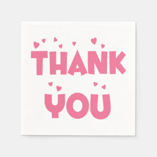 Thank You Pink Hearts Party Napkins