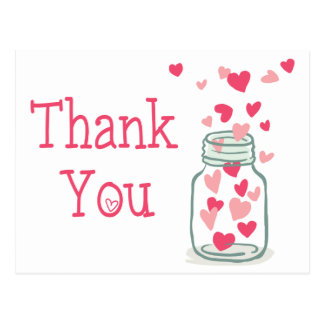 Thank You Pink Hearts Vintage Mason Jar Love Postcard