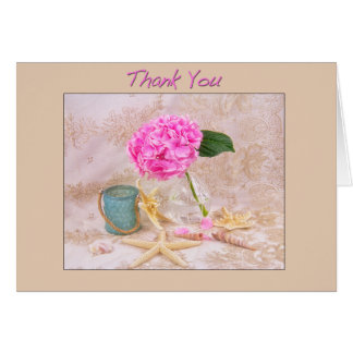 Thank You Pink Hydrangea With Sea Shells Card